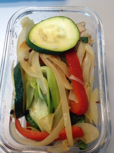 Stirfried veggies: zucchini, onion, red pepper, baby bok choy and some garlic
