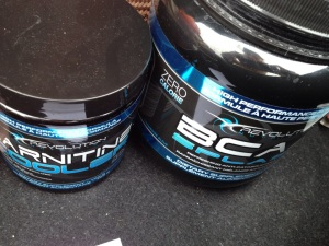 I love this brand, they taste delicious. That's Revolution Nutrition's BCAAs and L-Carnitine