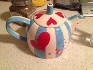 Tea steeping in my lovely self-painted tea pot