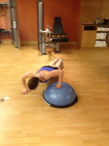 Up and over bosu ball push ups